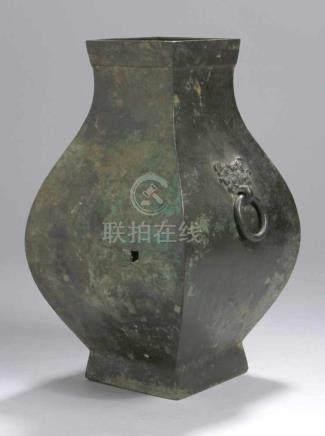 """Bronze-Opferweinaufbewahrungsgefäß, """"Fang Hu"""", China, späte Zhanguo-/Anfang West-Han-Zeit,3. Jh."""