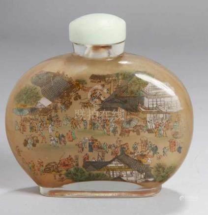 Große Glas-Snuffbottle, China, 20. Jh., farbloses Glas, von innen dekoriert mitpolychromer
