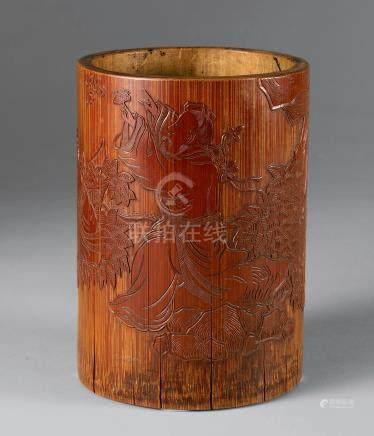 清 竹雕煎茶图笔筒