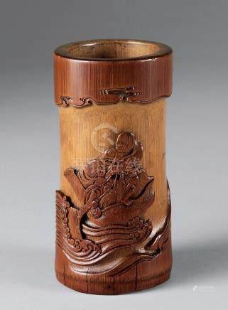 清 竹雕和合二仙乘槎图笔筒