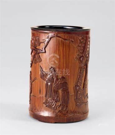 18世纪 竹雕指日高升图笔筒