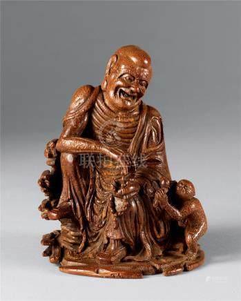 清中期 竹雕罗汉戏猴像