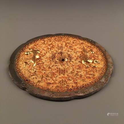 Chinese Gilt Bronze Octalobed 'Foo Dog' Mirror