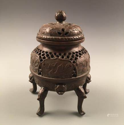 Chinese Bronze Incense Burner With Wan Li Mark