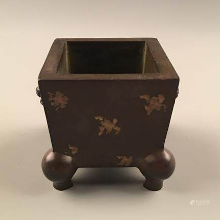 Chinese Bronze Square Censer With Gilt Dots