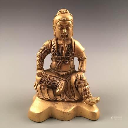Chinese Gilt Bronze 'GuanGong' Status Figure