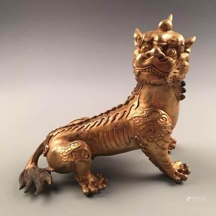 Fine Chinese Gilt Bronze 'Rui Shou' Statue
