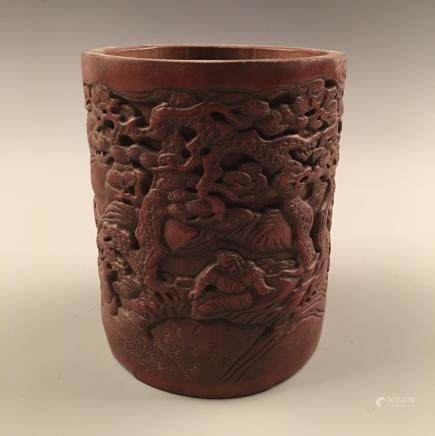Chinese Bamboo-Made Brush Holder With Carved Figures