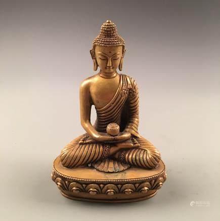 Chinese Seated Gilt Bronze Buddha