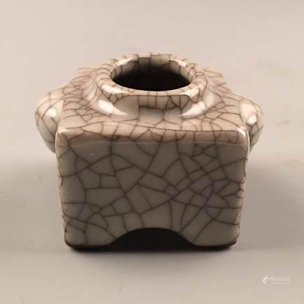 Chinese Guan Type Square Porcelain Brush Washer