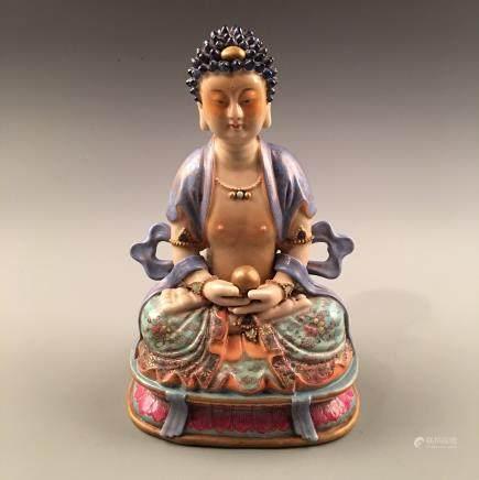 Chinese Famille Rose Buddha Statue