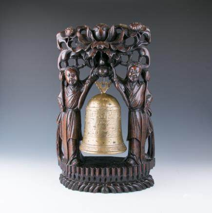 CHINESE BRONZE BELL WITH WOOD CARVED STAND, 19TH C.