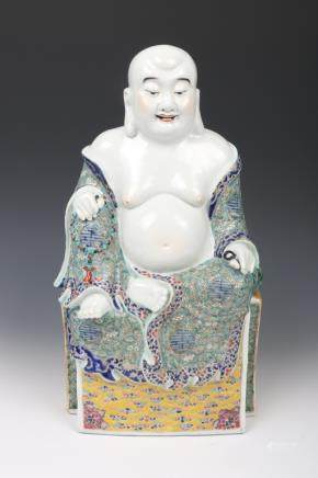 CHINESE FAMILLE-ROSE MAITREYA FIGURE, REPUBLIC PERIOD
