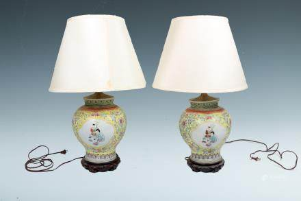 PAIR OF CHINESE FAMILLE-ROSE VASES (LAMP)