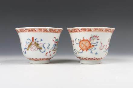 PAIR OF FAMILLE-ROSE 'BAJIXIANG' CUPS, QIANLONG MARK