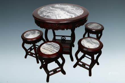 A SET OF SUANZHI TABLE AND FOUR STOOLS, REPUBLIC PERIOD