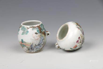 SET OF TWO CHINESE-FAMILLE ROSE BIRD FEEDERS, QING