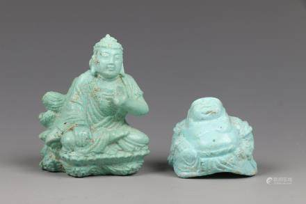 SET OF TWO CHINESE TURQUOISE BUDDHA CARVINGS