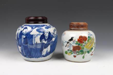 SET OF CHINESE FAMILLE-ROSE, BLUE AND WHITE JARS, QING
