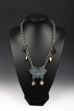 CLOISONNE ENAMEL BUTTERFLY NECKLACE