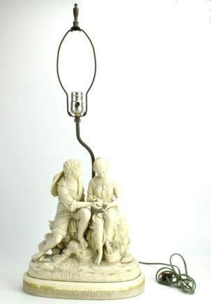 Copeland Bisque Figural Lamp w/ Birds,19th C.