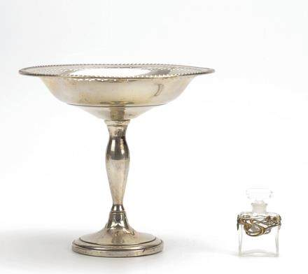 Sterling Silver Compote & Chanel Perfume Bottle