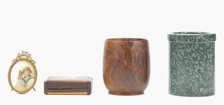 Mid C.2 Brush Pots, Card Case,Mini Tabletop Frame