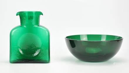Mid-century Green Blenko Pitcher w/ Glass Bowl