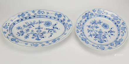 Two Meissen Blue Onion Platters,19-20th C.
