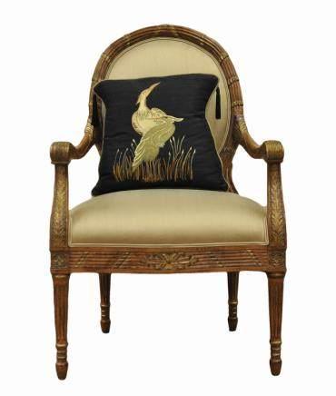 LXVI Style Gilt Wood Armchair w/ Pillow, ca 1900