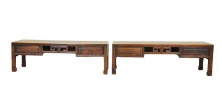 Pair Of Chinese Craving Huali Low Table,Late Qing