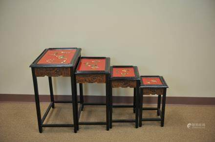 A Set of 4 Lacquer w/ MOP Nesting Tables,20th C.