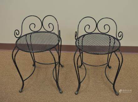 A Pair of Wrought Iron Vanity Stools, Mid Century