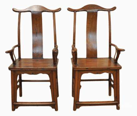 A Pair Of Chinese Wood Hat Chairs, 19th C.