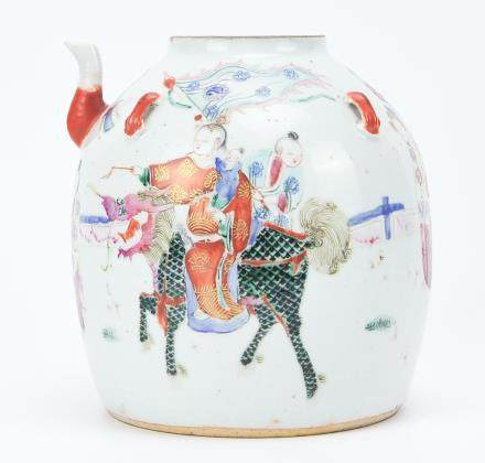 A Large Chinese Famille Rose Teapot, 19th C.