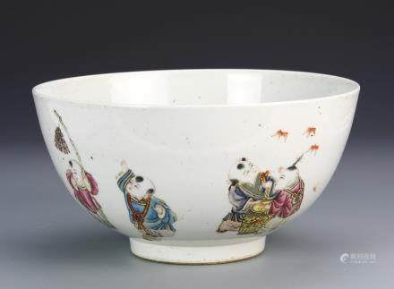 19th C., Famille Rose bowl, delicate white bowl on footed base with exterior paintings in bright colors of children playing, blue, four character mark on base.