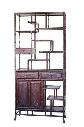 Republic hongmu wood book shelf, carved with traditional motifs and bamboo forms.