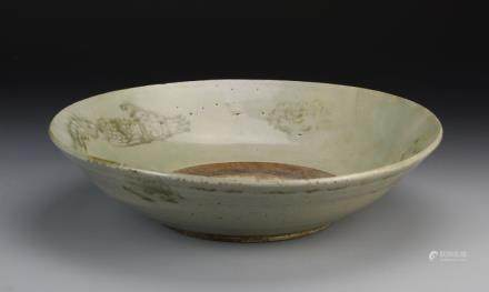 Yuan bowl, wide flared rim, light green in color, painted mythical animals on interior and exterior, with repairs.
