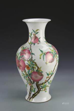 Republic  Famille Rose vase, round body with tapering neck, white base painted over in bright colors with the branches of a pomegranate tree bearing fruit and flowers, Yongzhen mark.