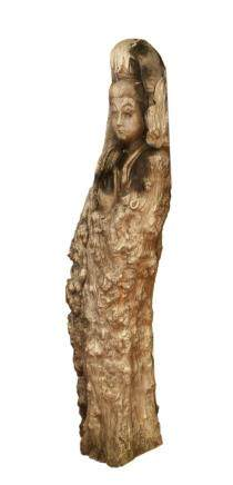 Large wood Buddha Gaungyin statue, impressive carving from within a natural tree of a female figure emerging from the roots and twists with simplistic details in the face, hands and feet