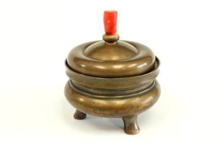 19TH Century TRIPOD BRONZE CENSER WITH Cover /lid coral top