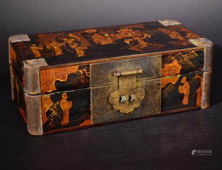 19TH Century Lacquer GILT WOOD FIGRAL BOX