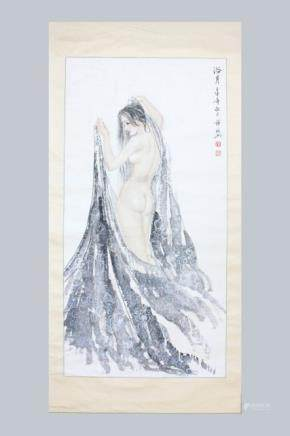 A CHINESE PAINTING OF LADY, 'XUE LIN XING'