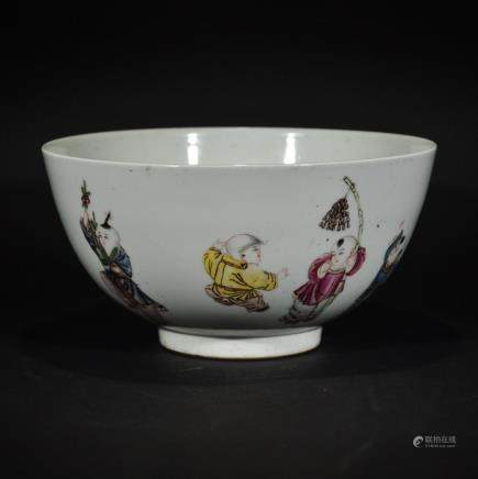 Republic FAMILLE ROSE BOWL with QIAN LONG MARK