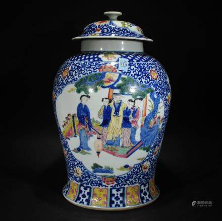 A BLUE AND WHITE famillie-rose FIGURAL JAR
