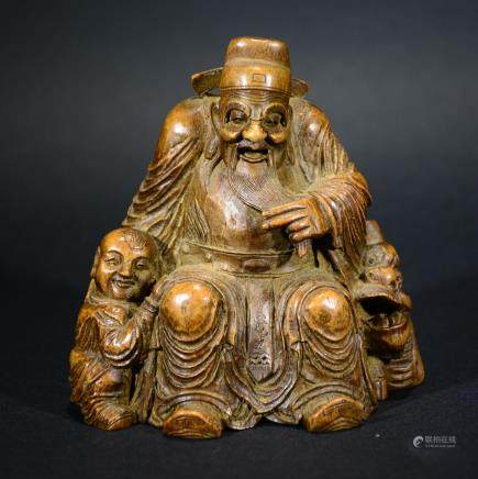 CHINESE Bamboo CARVED Fortune God rinding QILIN