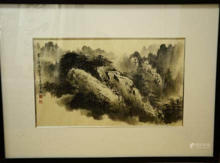 A FRAMED Black & white INK LANDSCAPE PAINTING