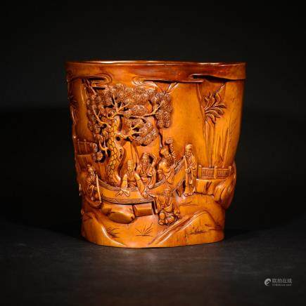 REPUBLIC BOXWOOD BRUSHPOT WITH ZHULINQIXIAN