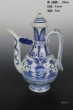 Yuan Blue and White Lotus Pond Mandarin Duck Pot