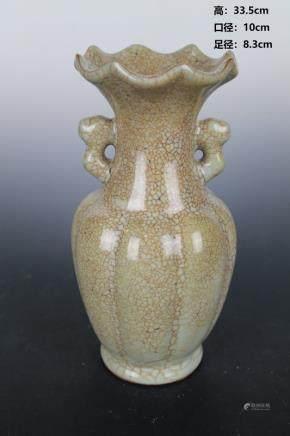 Yuan Green Glaze Eight Edge Flower Mouth Amphora